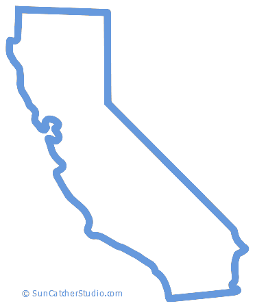 California Map Outline Printable State Shape Stencil Pattern California Map California State Outline Map Outline