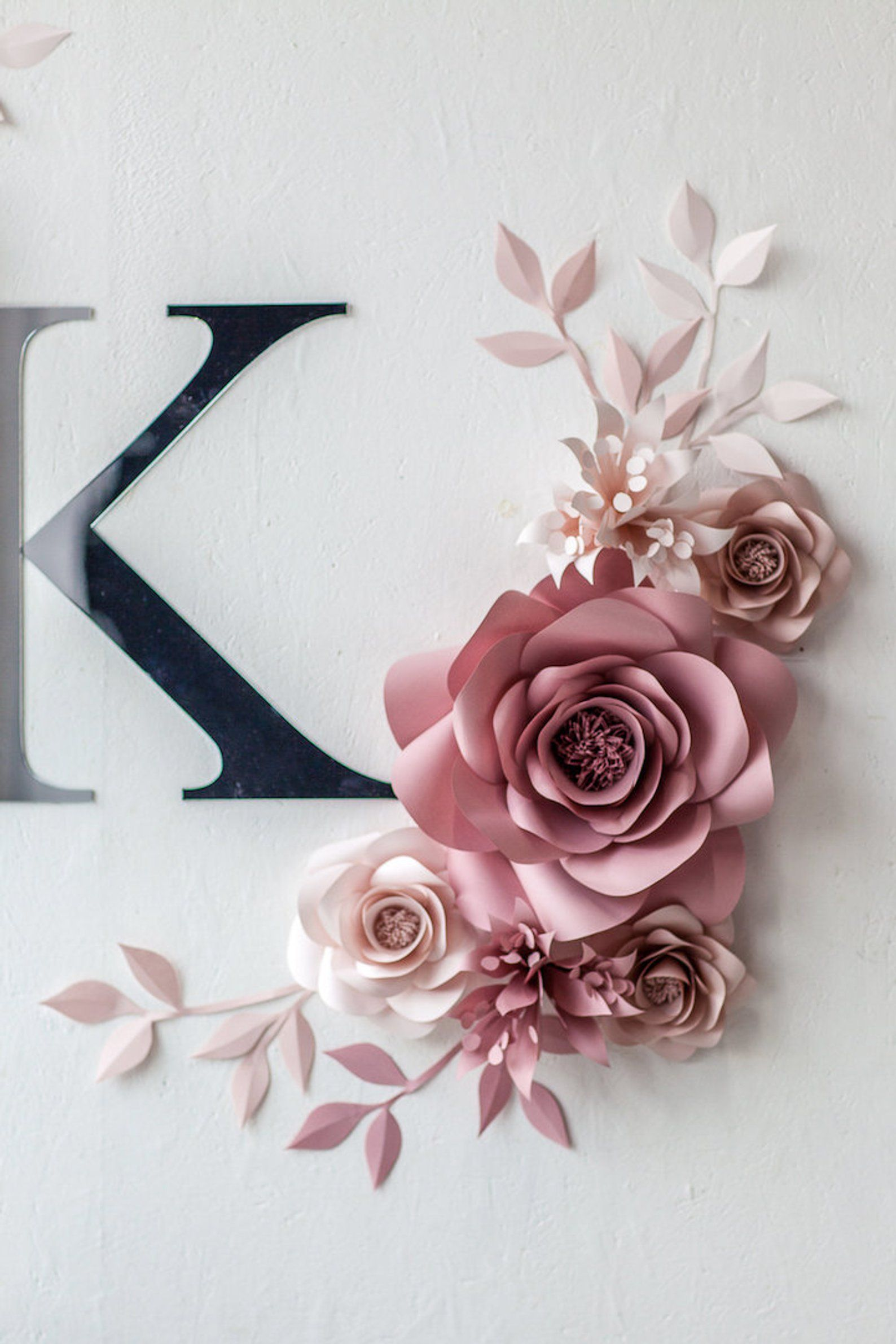 Personalized Nursery Wall Decor Paper Flowers Wall Decor In Pink