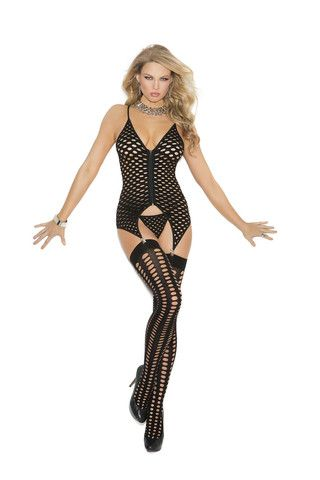 Three piece set Zip front pothole camisette,  g-string and stockings  Black