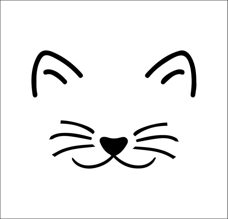 Cute Cat Mom Cat Face File Svg Ai Dxf Eps Png Digital Etsy Cat Face Drawing Cat Face Cat Outline
