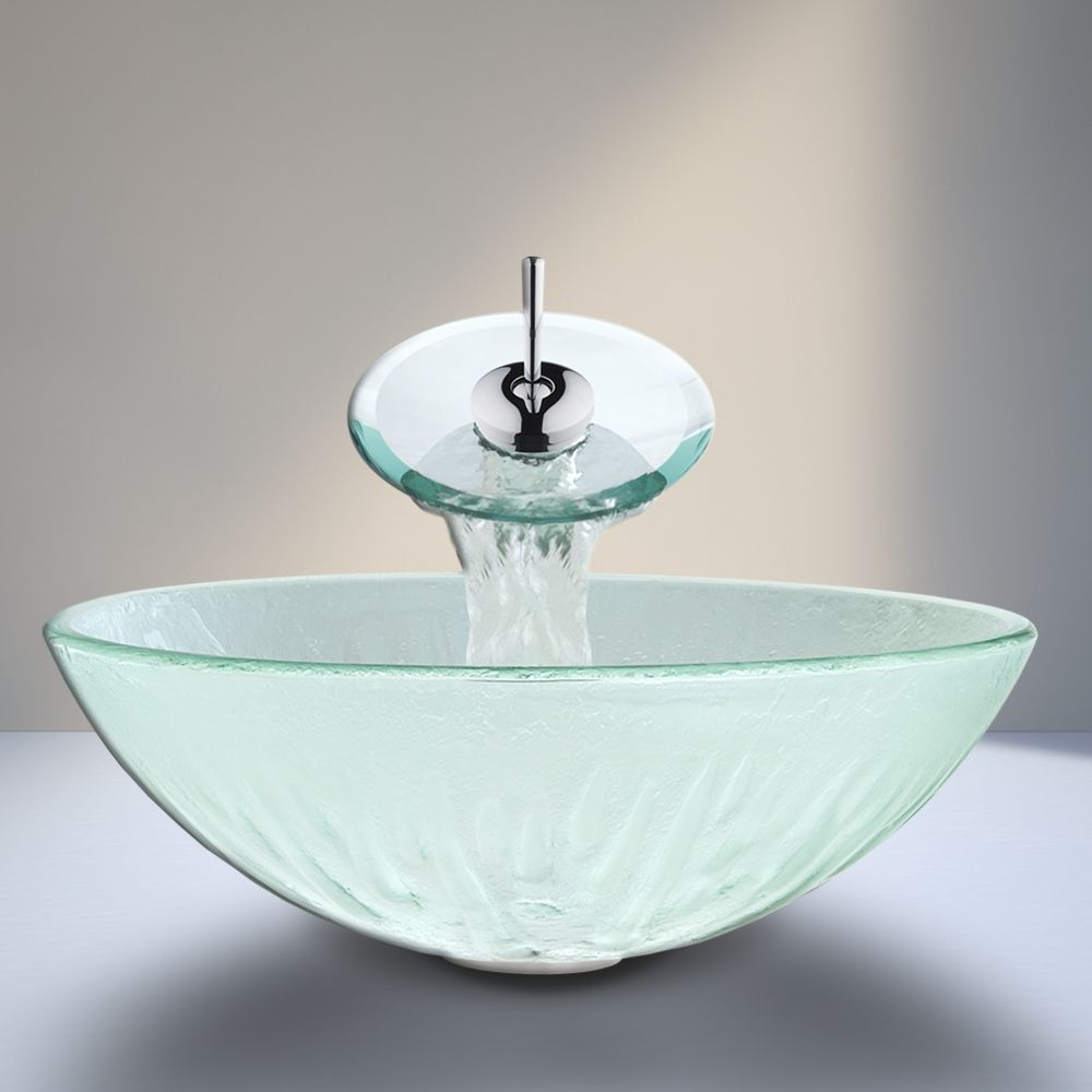VIGO\'s Icicle Glass Vessel Sink and Matching Waterfall Faucet ...