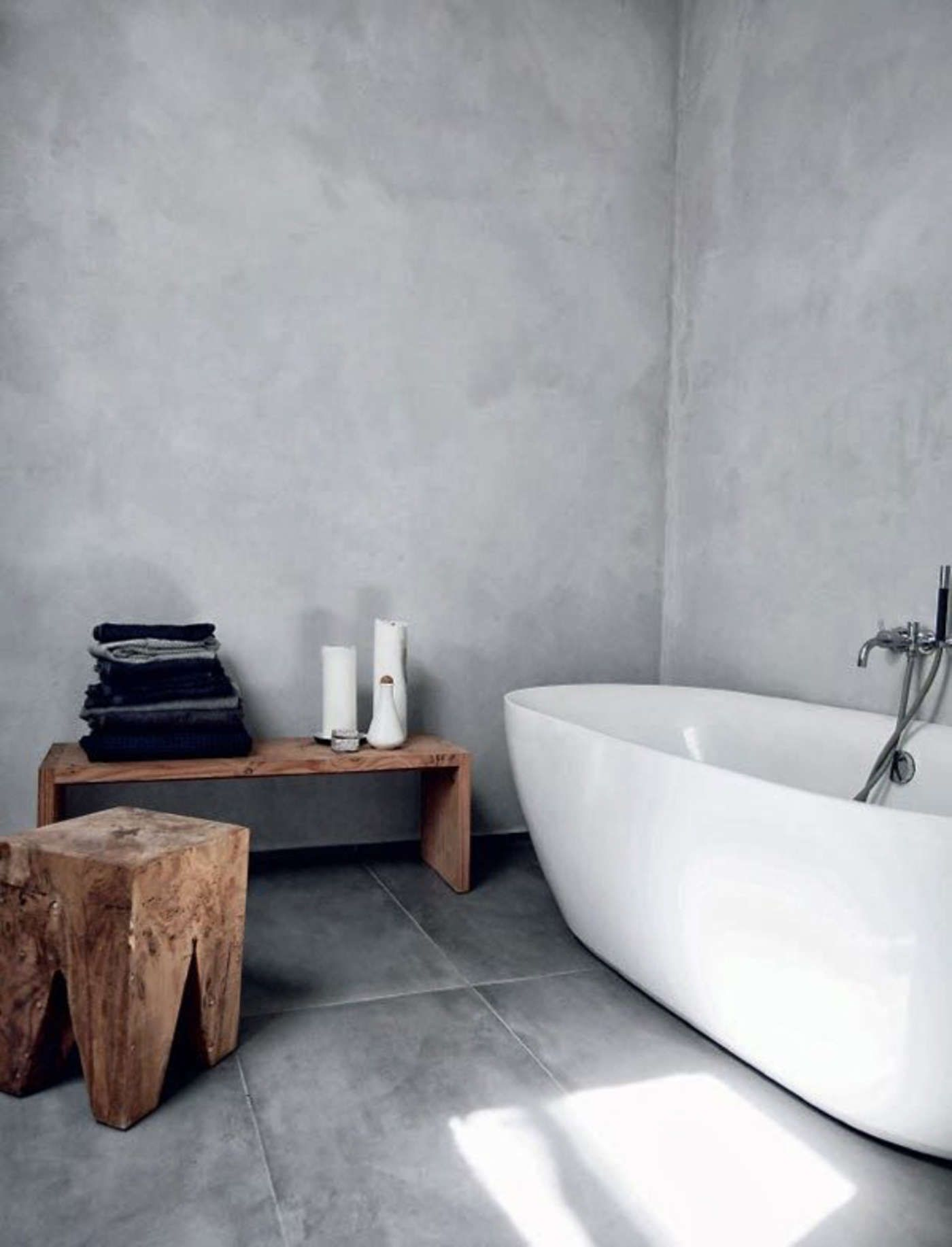 Trends Shaker Concrete Bathroom Baignoire Sur Pied Salle De Bain En Beton Salle De Bain Minimaliste
