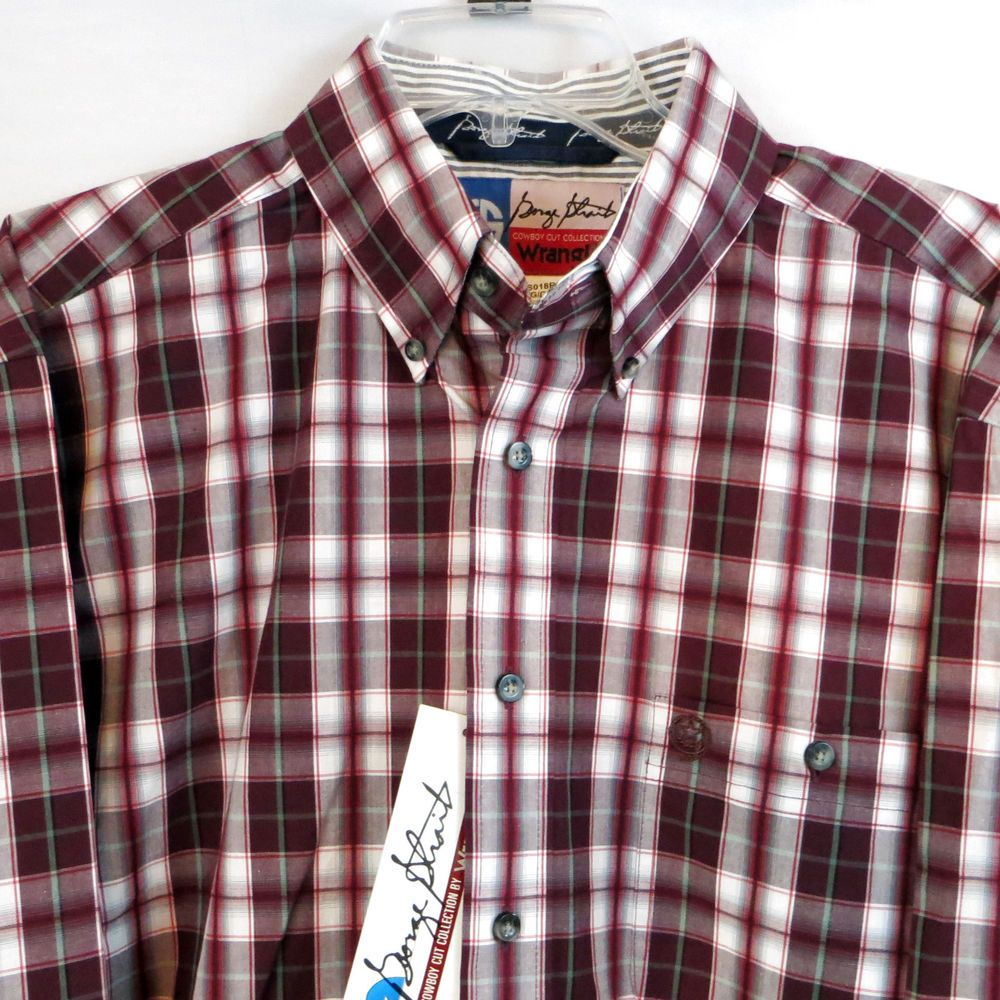 WRANGLER George Strait MENS SHIRT Western  BUTTON UP Cowboy Rodeo NWT LARGE  $34 free ship!  our prices are WAY BELOW RETAIL! all JEWELRY SHIPS FREE! www.baharanchwesternwear.com baha ranch western wear ebay seller id soloedition