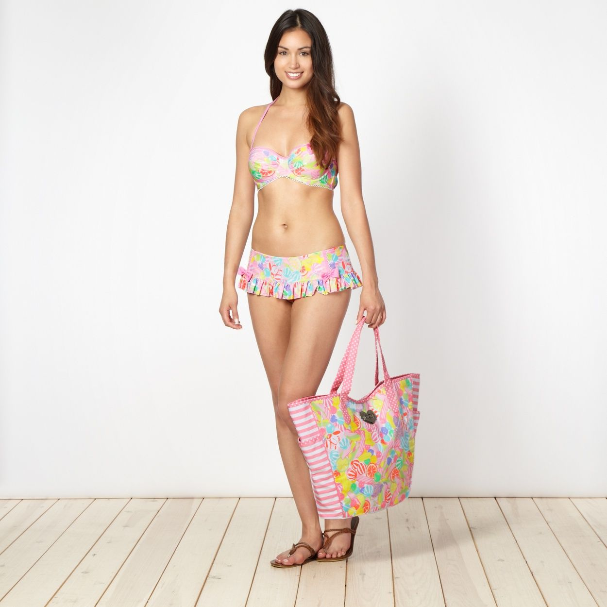 43ce6435c49 Floozie by Frost French Designer pink sweet print frill bikini ...