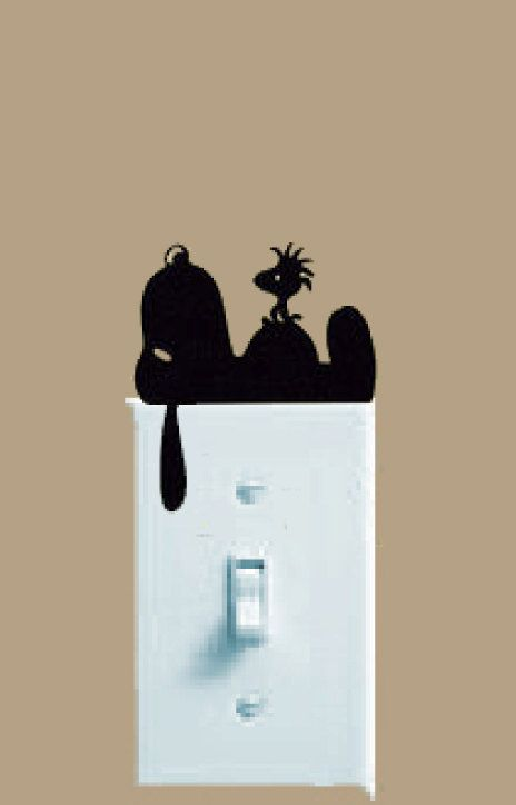 Snoopy Wall Decal Peanuts Gang Free Shipping Black Vinyl Light Switch Decor Home Accessories 230