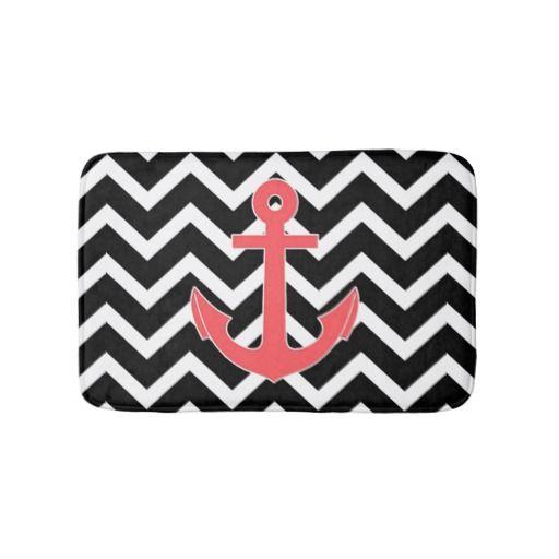 Black Chevron Pink Anchor Bathroom Mat
