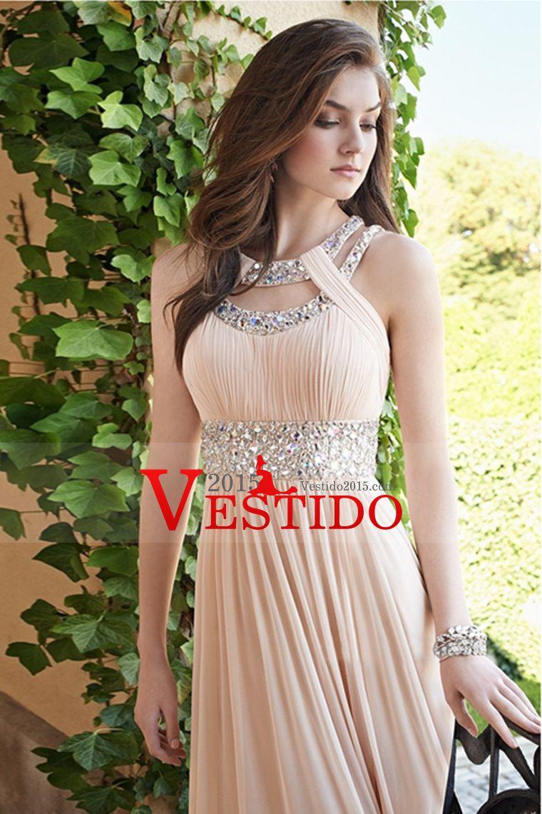 2015 Sexy vestidos de baile de la cucharada A Línea palabra de longitud de espalda abierta de la gasa con rebordear