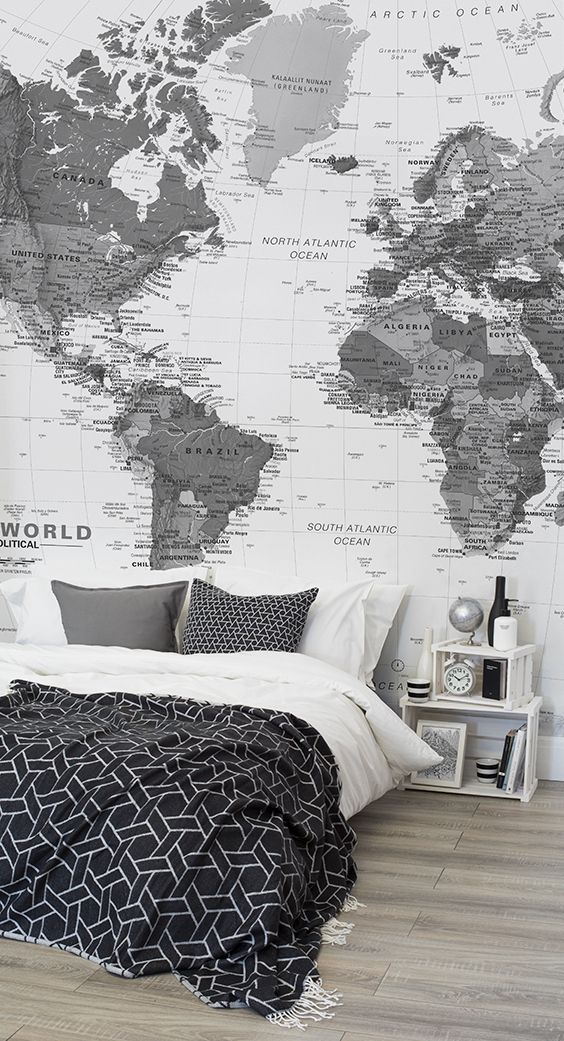 Black and white detailed map mural muralswallpaper this world map wallpaper brings the world to your fingertips and looks stylish at the same time monochrome tones add an air of sophistication to any gumiabroncs