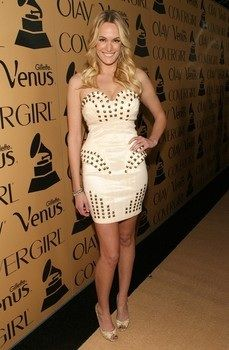 Ashlan Gorse wearing the ABYSS BY ABBY Belladonna dress in cream,  at GRAMMY Glam event.  February 7, 2012