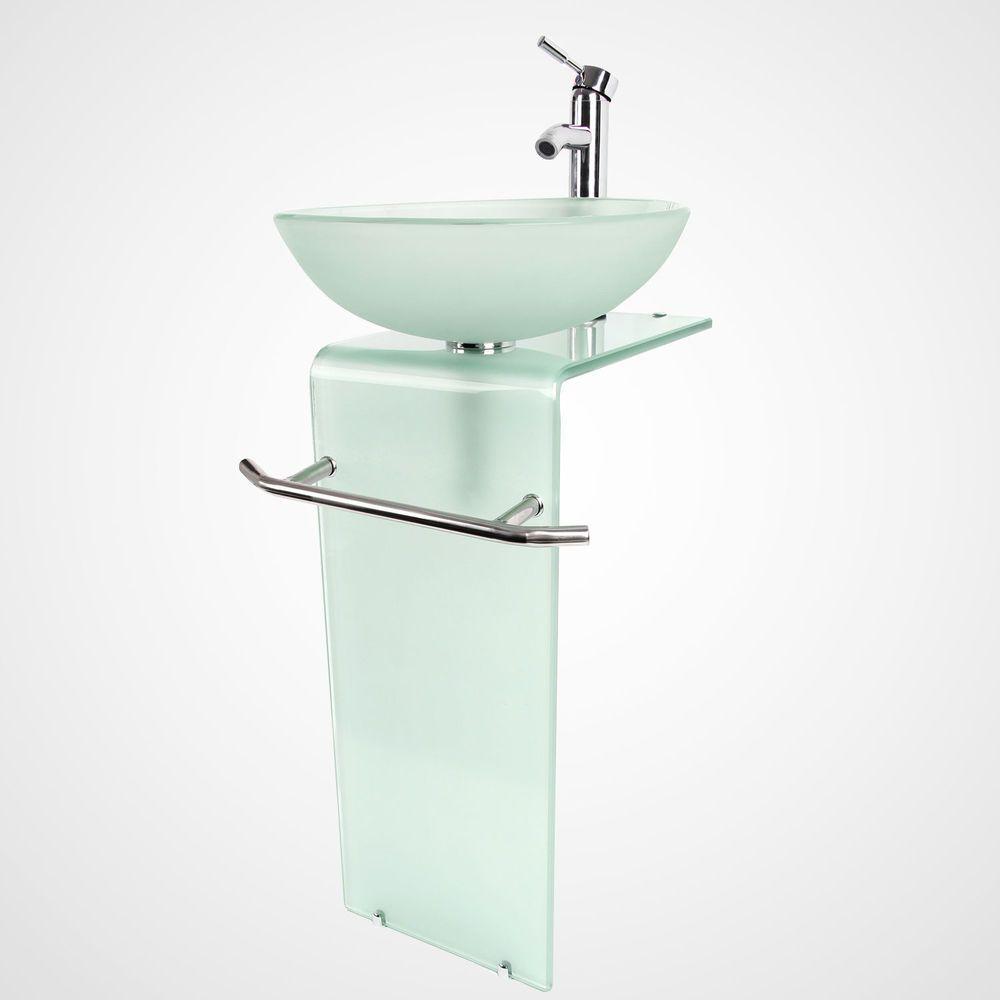 Bathroom Vanity Pedestal Sink Tempered Frosted Glass Vessel Bowl