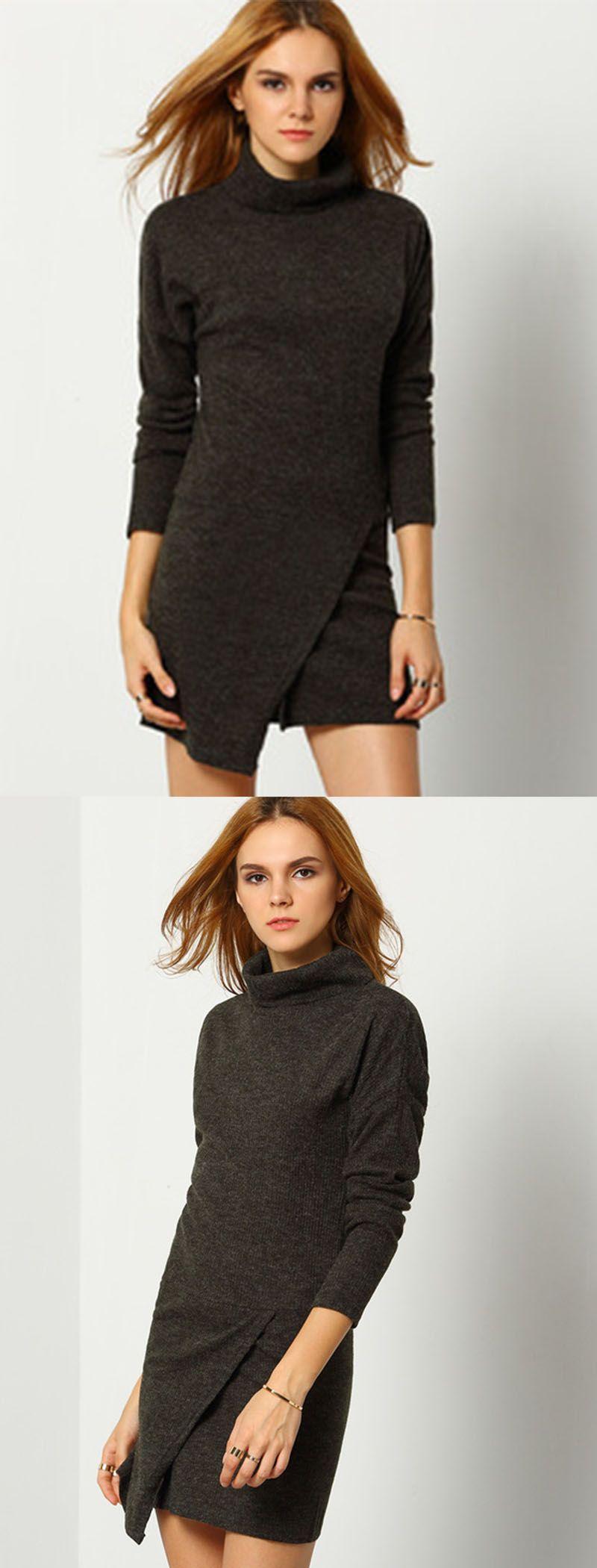 Dark grey high neck bodycon dress makemechiccom modern fashion
