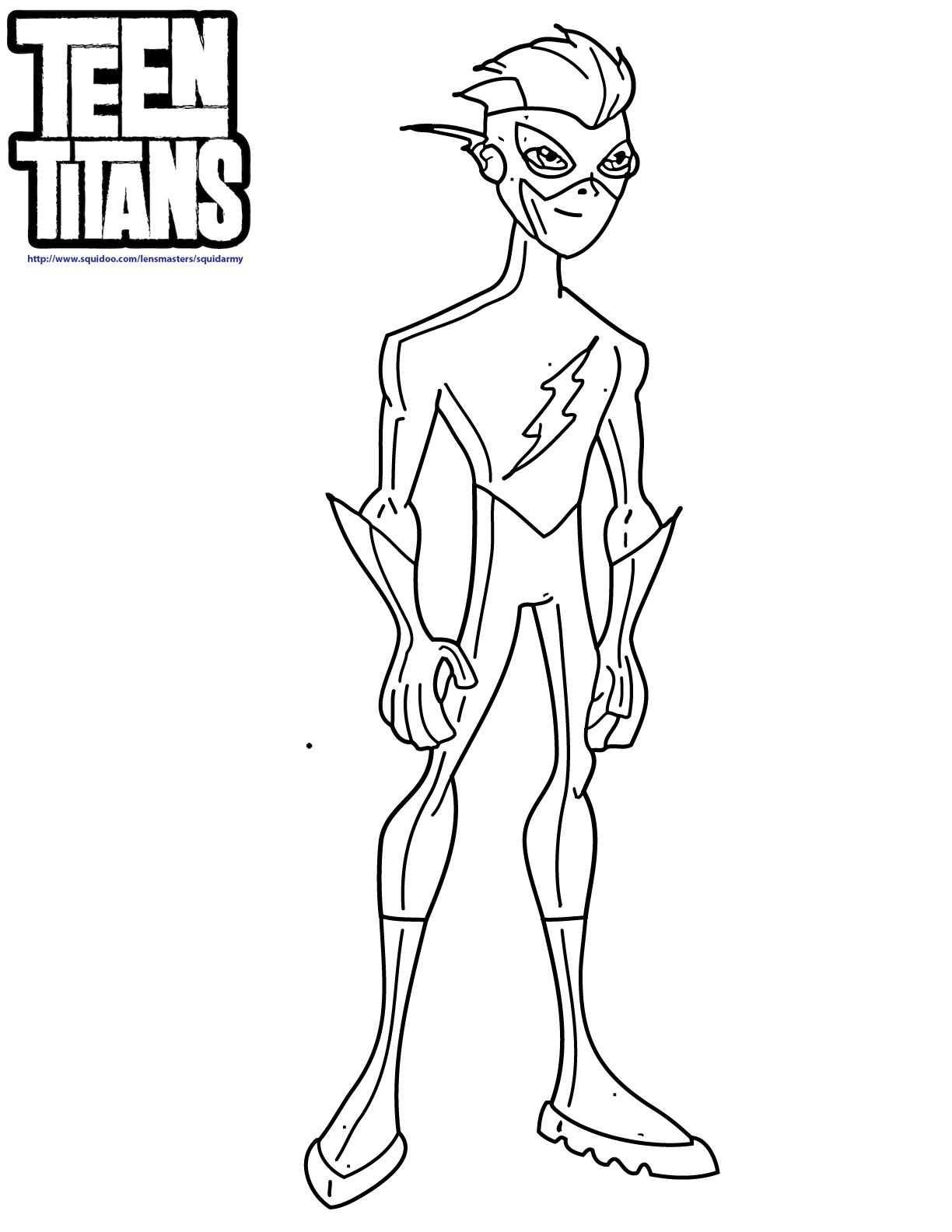 Batman and flash coloring pages - Teen Titans Kid Flash Coloring Pages