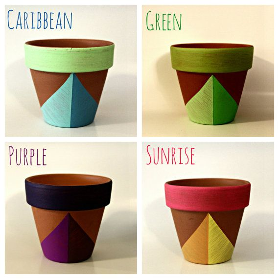 Set Of 3 Bright Painted 4 Terra Cotta Planters Geometric Hand Painted Flower Pots Macetas Pintadas Macetas Decoradas Ollas De Barro Pintadas