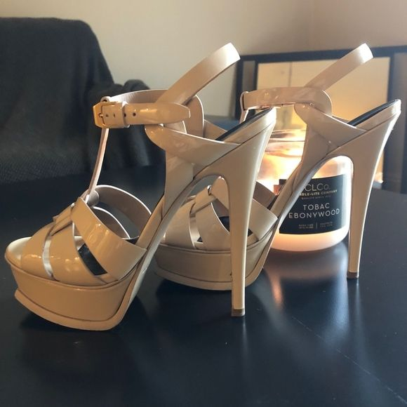 481203146ef YSL Tribute Heel Nude YSL sandal. Has some wear as seen in photos. Literally