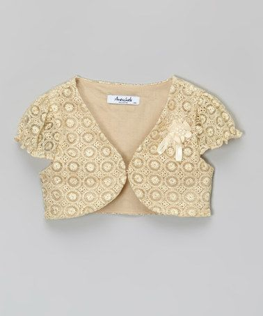 Another great find on #zulily! Gold & Beige Lace Bolero - Toddler & Girls by Antscastle #zulilyfinds