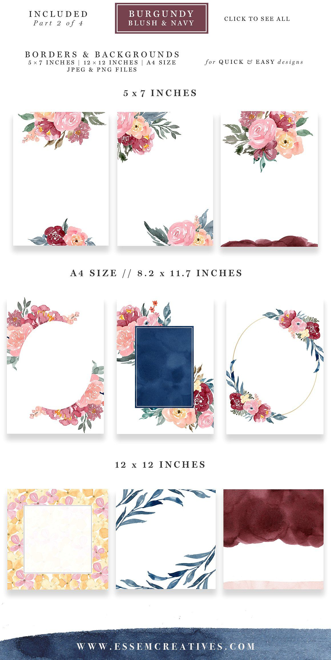 Burgundy Blush Navy Flowers Clipart Watercolor Wedding