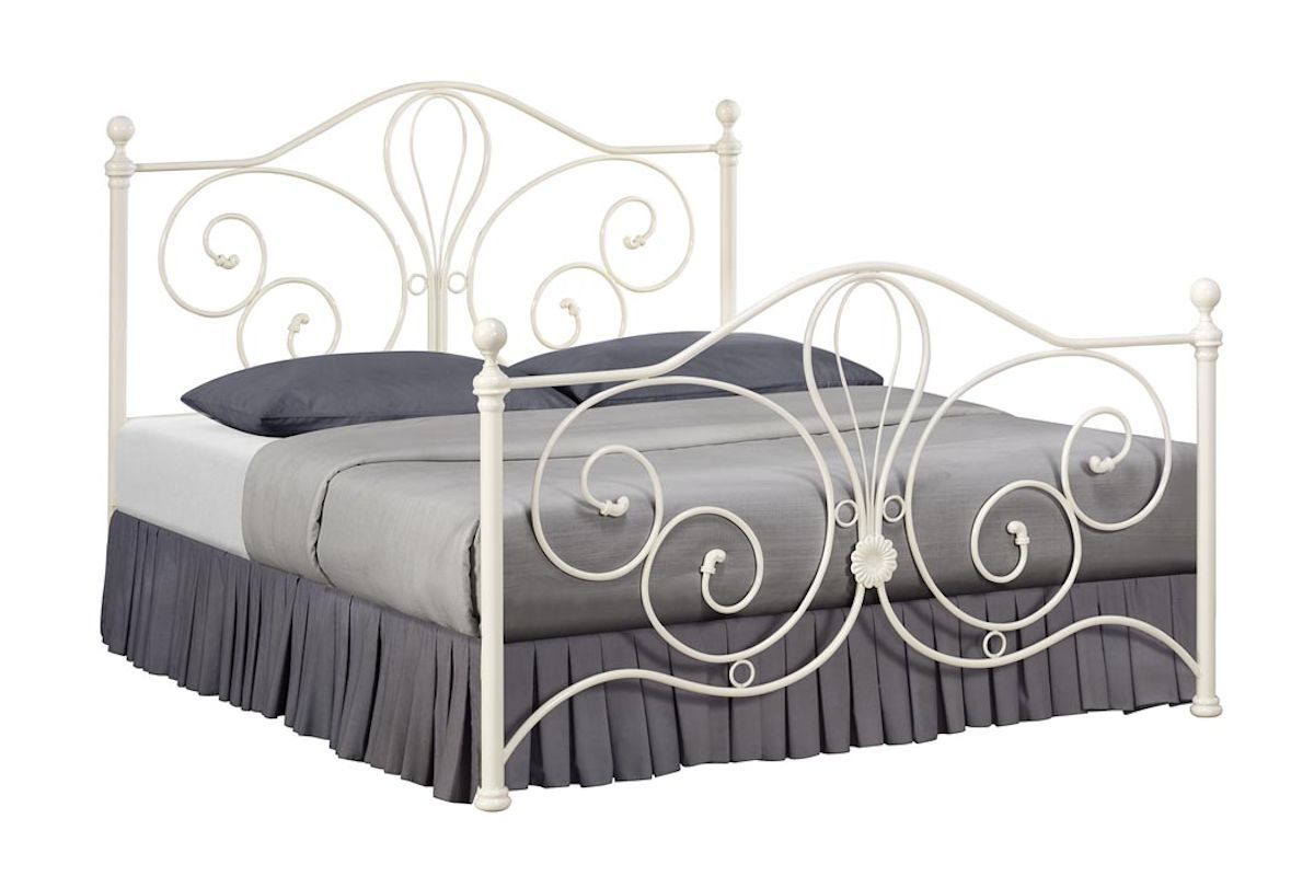 PARISIAN STYLE ORNATE METAL BED FRAME WITH FLOWER CASTING IN WHITE ...