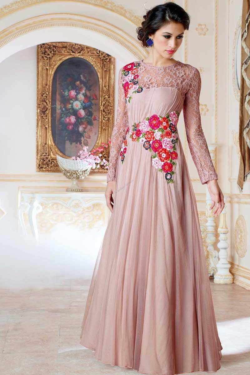 Peach, georgette anarkali gown with price 3,890.00.Andaaz fashion ...