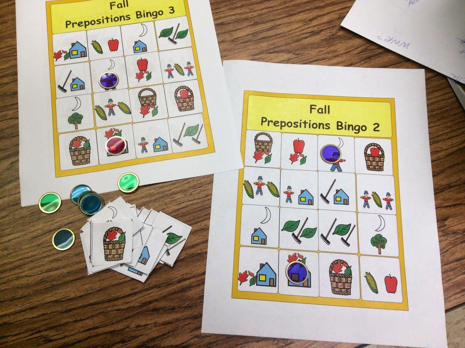 Fall Prepositions Bingo Free Printable Chapel Hill