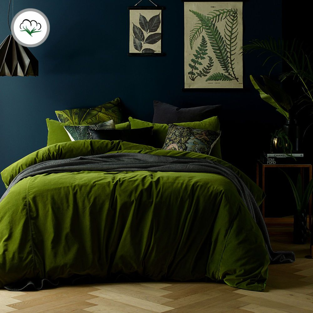 Mossy Road Cotton Velvet Quilt Cover Set Or Eurocases Queen King Super King Green Bedding Bedroom Green Luxury Duvet Covers