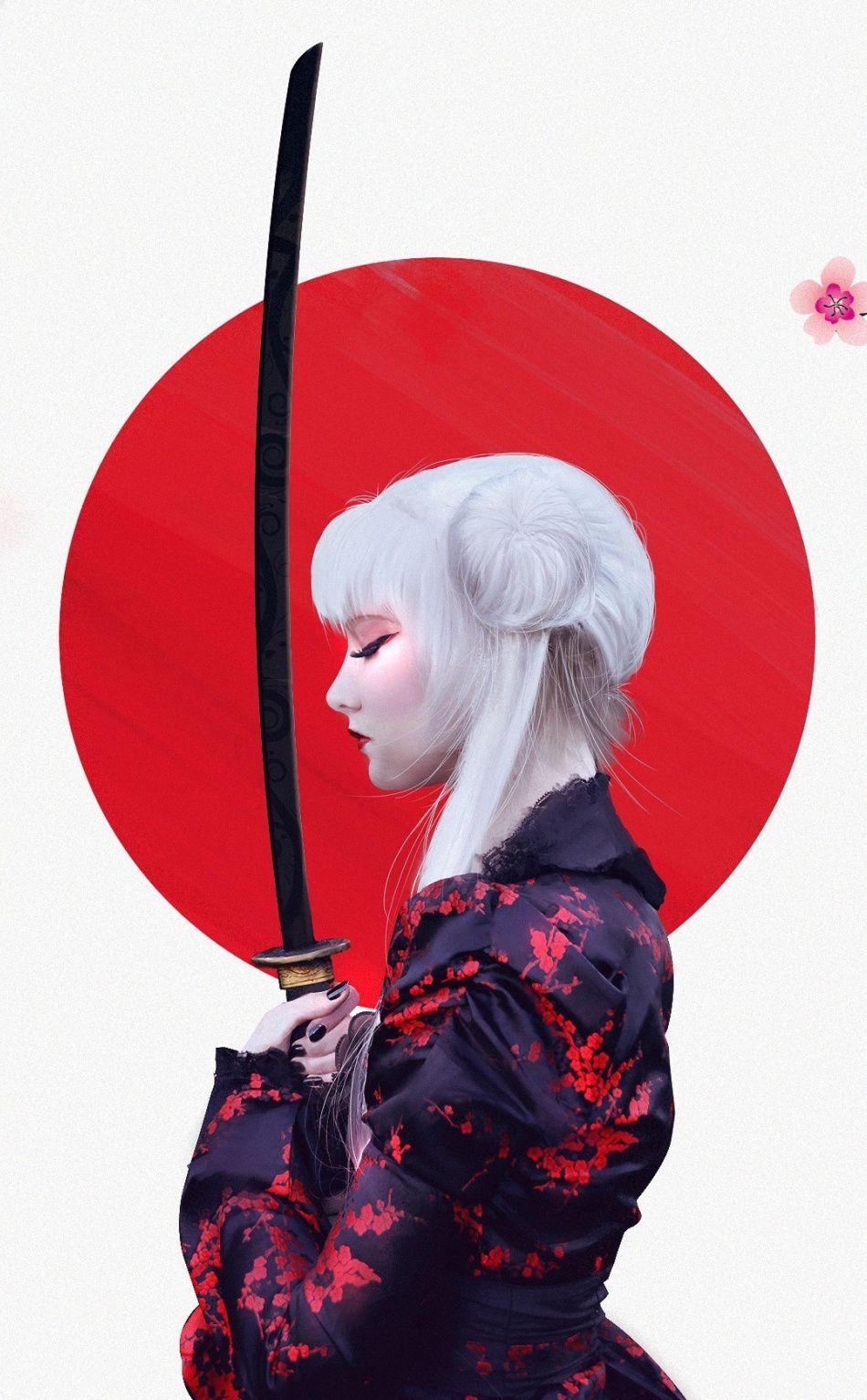 Girl warrior, samurai, Cherry Blossom, art, 950x1534