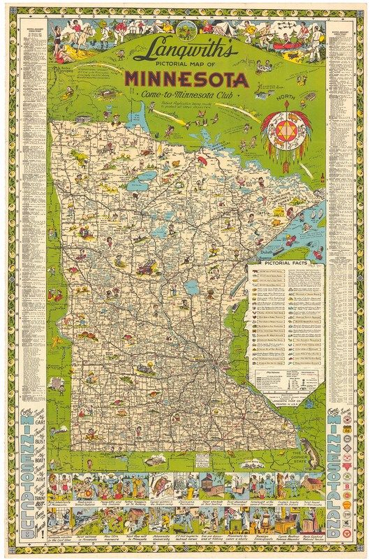 Langwith\'s Pictorial Map of Minnesota, 1930s   Maps ...