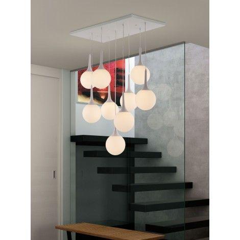 Luminaire suspendu style moderne de couleur blanc avec globe en