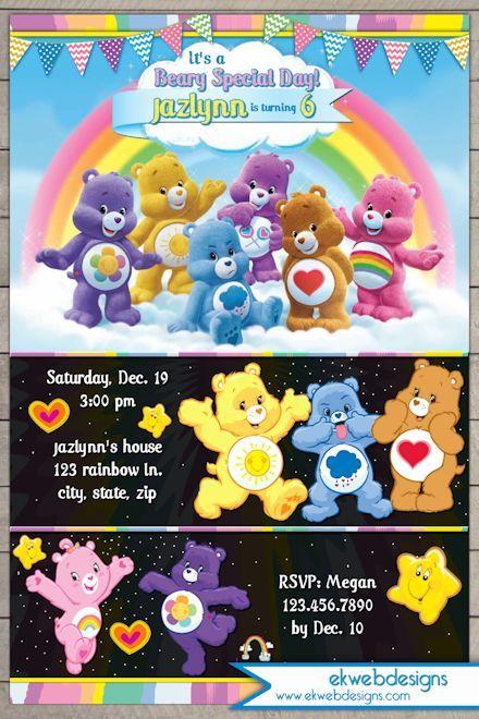 Care Bears Birthday Invitation Custom