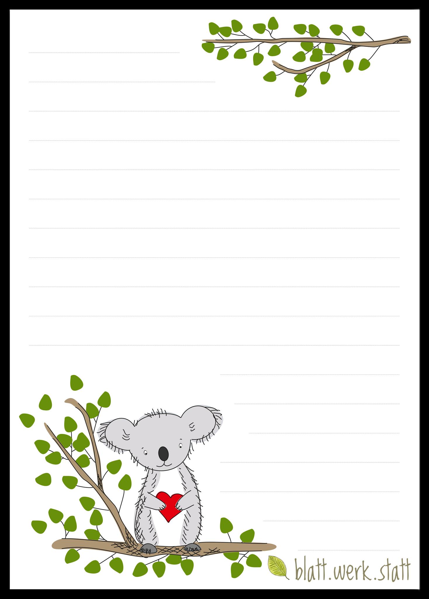 Briefpapier Koala Briefbogen A4 Briefpapier Briefpapier Kinder Koala