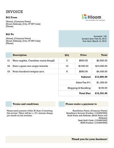 Free Invoice Template By HloomCom  Ram