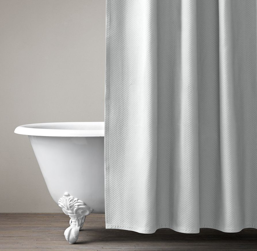 Diamond Matelassé Shower Curtain - 72 X 84 Extra Long Cotton ...