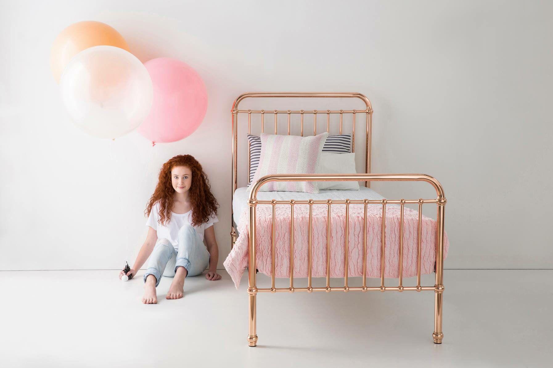 Rose gold bed Rose gold bed, Single bed, Single metal