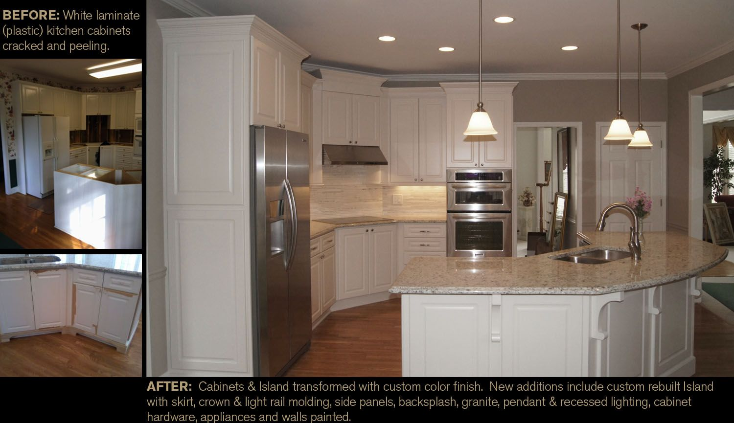 From white peeling laminate plastic cabinets to a updated and
