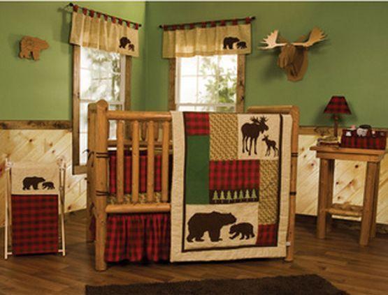Baby Bedding Crib Set 5pc Cabin Rustic Country Bear Moose Comforter Skirt Sheets Trendlab Rustic Baby Nurseries Baby Nursery Themes Cabin Nursery