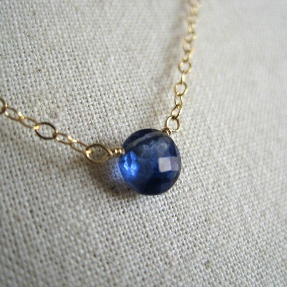 Tiny kyanite circle necklace gold blue stone by KahiliCreations
