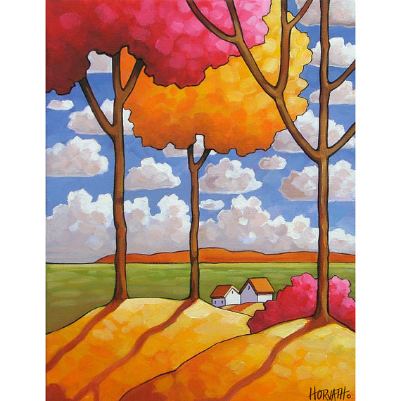 Fall Trees Country Fields Landscape Color Folk Art Print Blue Sky