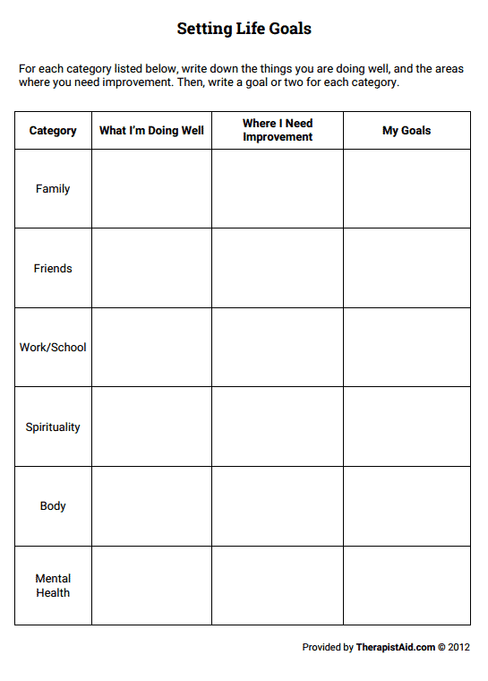 Best Photos of Therapy Goal Setting Worksheet - Substance Abuse ...