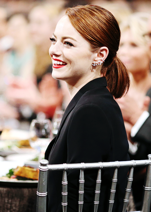 Emma Stone at the 21st Annual Screen Actors Guild Awards at The Shrine Auditorium on January 25th, 2015 in Los Angeles, California.