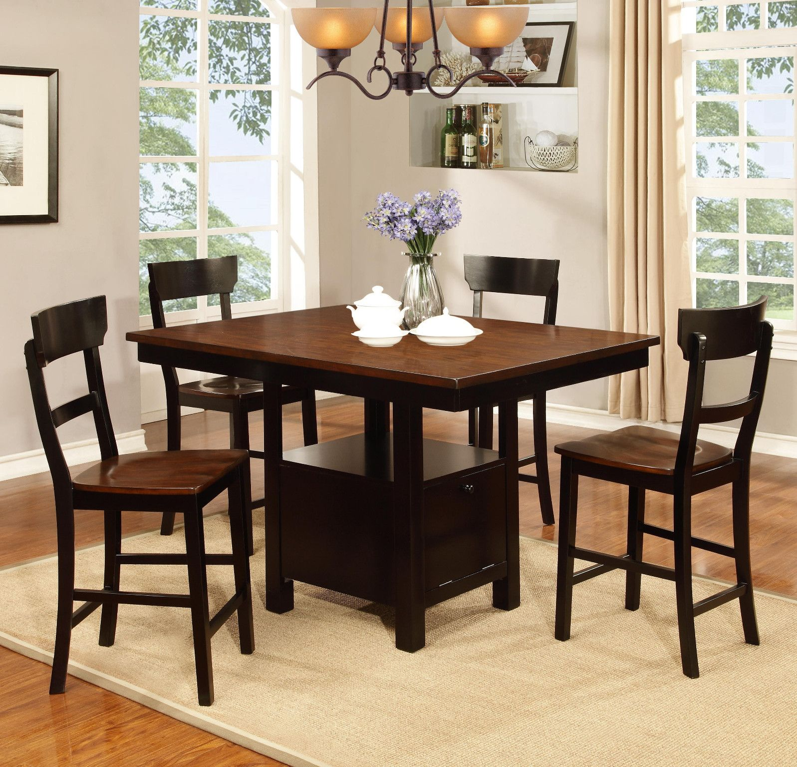 Woodbridge Counter Height Table And 4 Chairs Oak Black Finish By Lifestyle 44900 54L