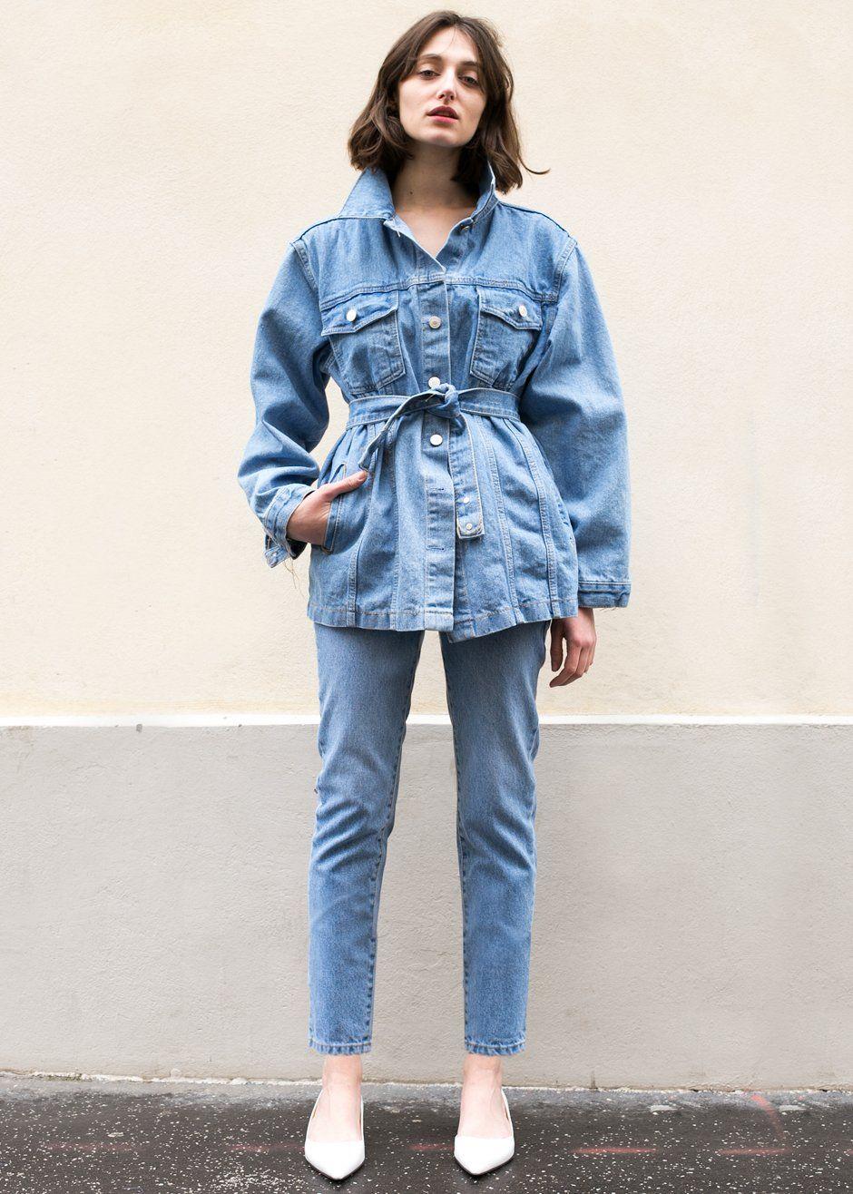 6678d735158 Blue Belted Denim Jacket – The Frankie Shop