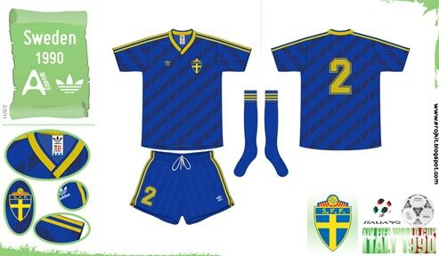 Sweden away kit for the 1990 World Cup Finals.  d31afc6cf