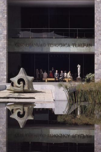 B. ANTHONY STEWART, Bulrushes, ornamental lagoon, and stone conch mark museum entrance. Mexico City, Mexico.National Geographic Creative
