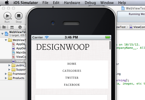 ObjectiveC iPhone App UIWebView Basics in Xcode Iphone