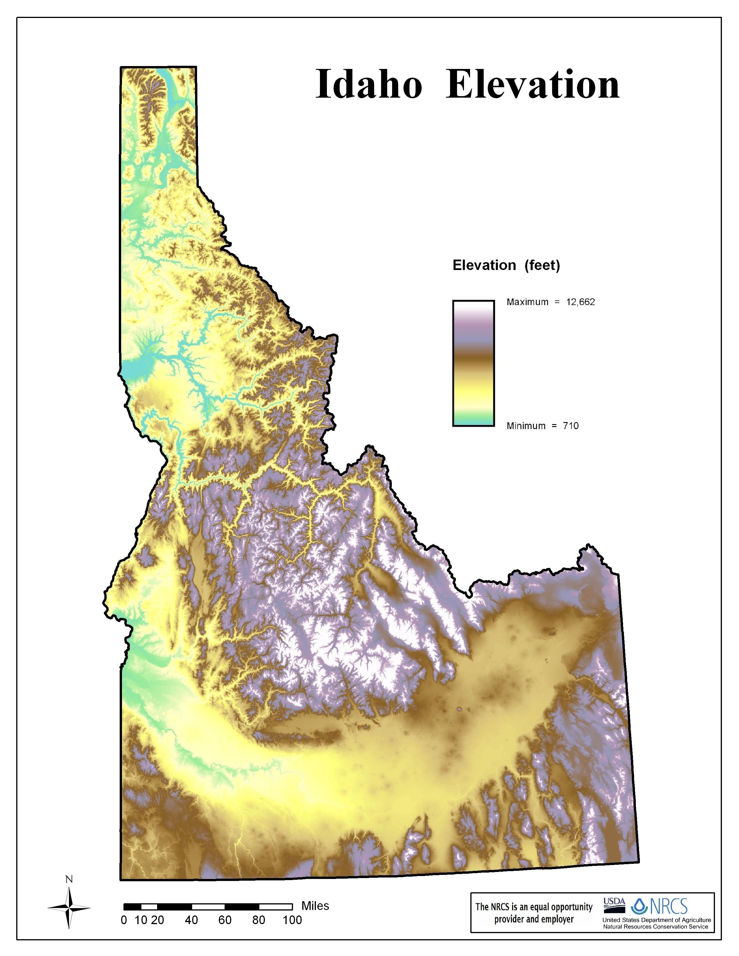 Idaho Elevation Map | MAPS | Pinterest