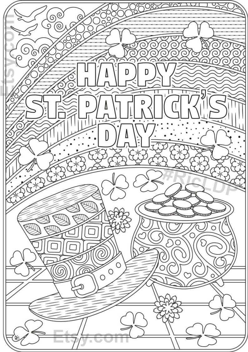 St Patricks Day Coloring Pages Flowers And Clover Leaves Etsy Valentines Day Coloring Page Coloring Pages Valentines Day Coloring