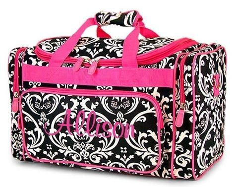 2cde40c1de Personalized Duffel Duffle Bag Black Damask Hot Pink Accents DANCE ...