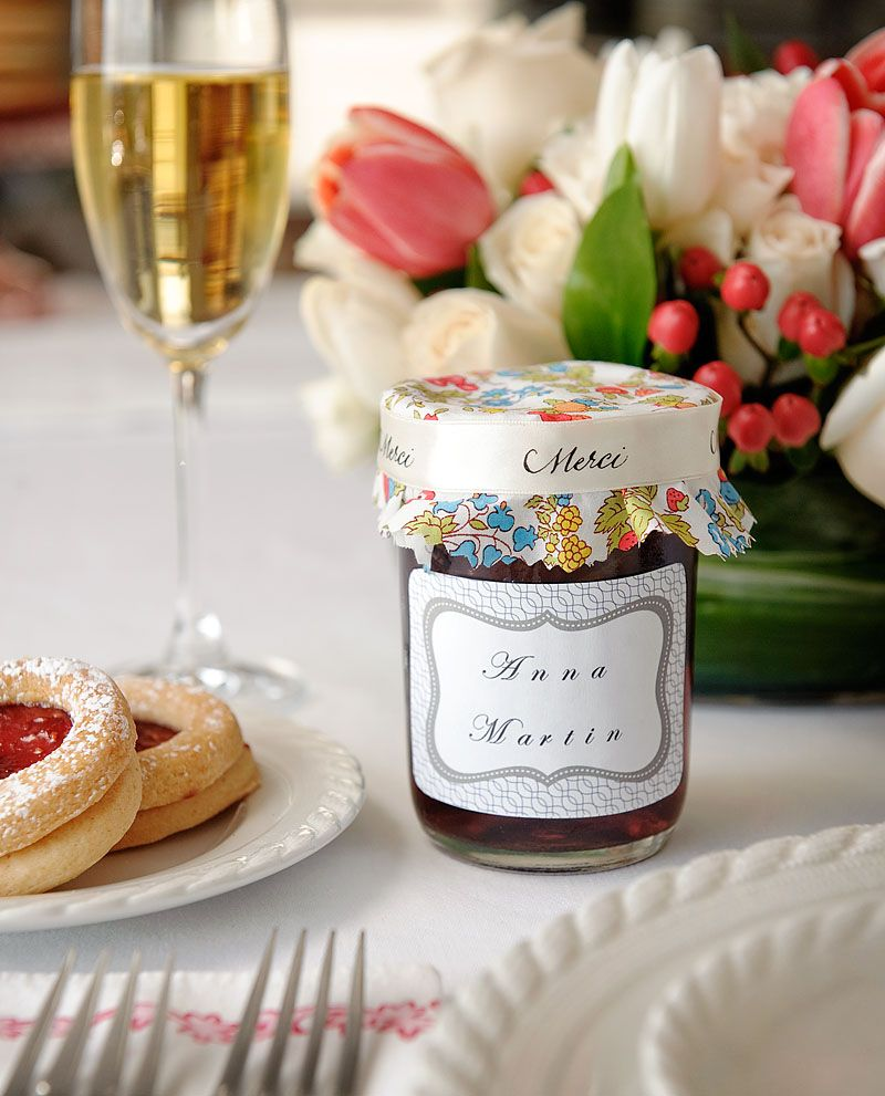 DIY bridal shower favors - whimsical canned preserves at each seat ...