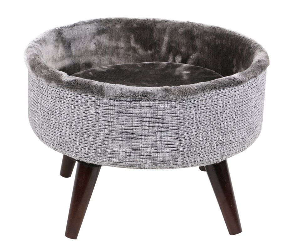 Heinz Round Cat Bed with Wood Leg Elevated Modern cat