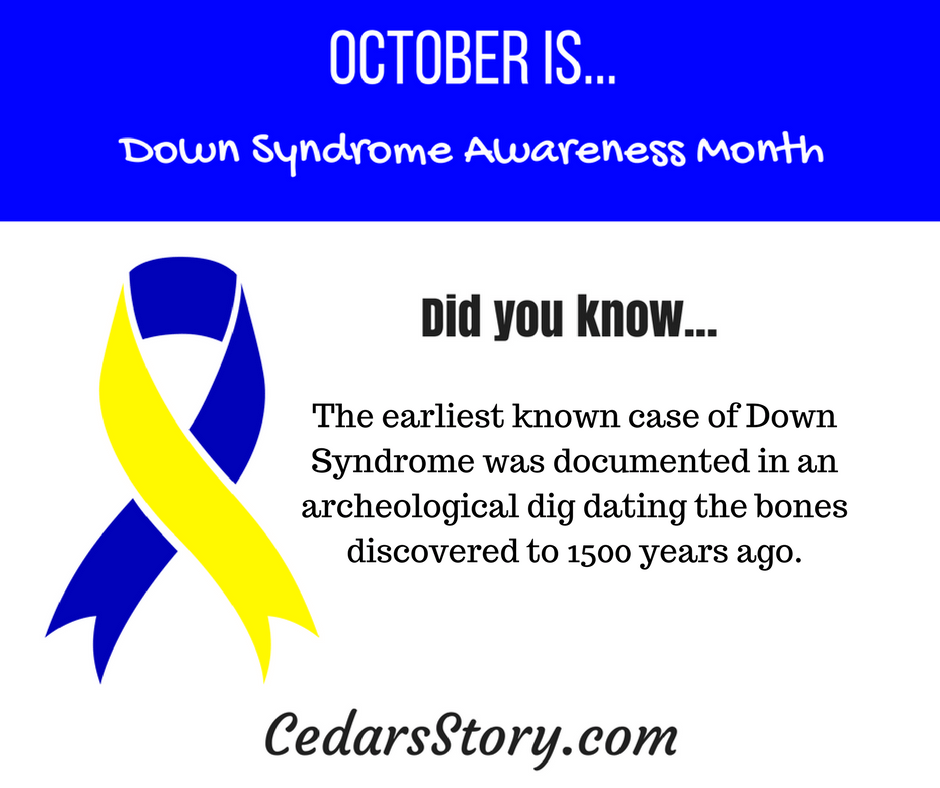 October Down Syndrome Awareness Facts 17 Cedars Story Down Syndrome Awareness Down Syndrome Awareness Month Down Syndrome