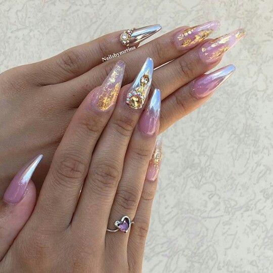 Pin de mariann rdz en nails efecto espejo chrome nails designs nails y bling nails Polvo espejo unas